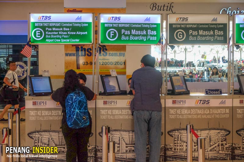 Kuala Lumpur to Penang bus ticket online counters at TBS station