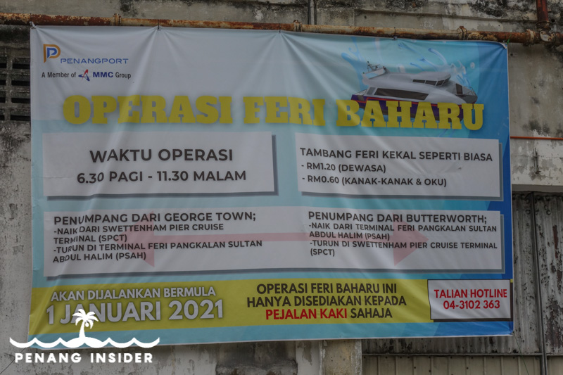 The latest advice on operating hours for the new catamarans shuttling between George Town's Sweethenam Pier and Butterworth