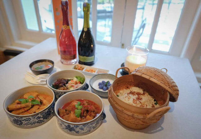 baba nyonya food with Italian Franciacorta white sparkling wine at E & O Hotel in Penang