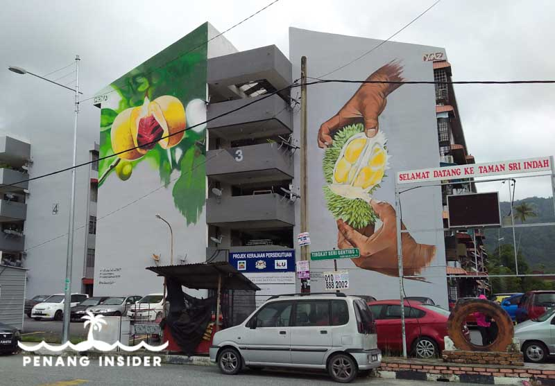 Durian and Nutmeg murals on the sides of the apartment block Balik Pulau