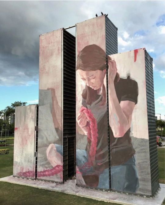 """Connection"" by Caryn Koh, the container mural art at Aspen Vision City near Batu Kawan"