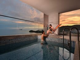 sunset at Penang 5 star hotel Lexis Suites