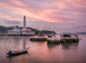 pulau pangkor floating mosque at sunset