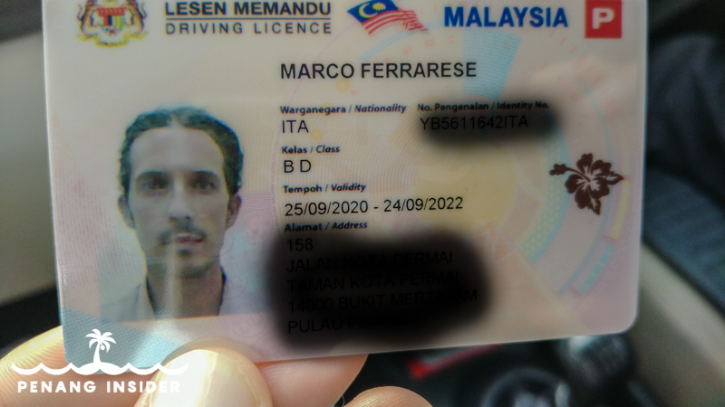 example of Malaysian driving license B plus D for car and motorcycle above 500cc